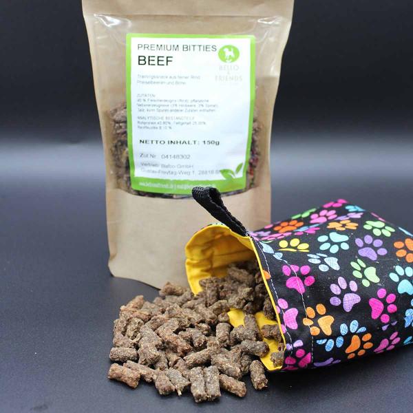 Premium Bitties BEEF – mit Himbeer & Spinat – Trainingshappen